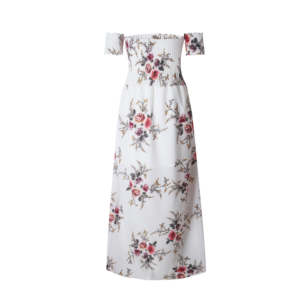 LOSSKY Off Shoulder Vintage Print Maxi Summer Dress 13