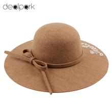 Women Wide Brim Fedora Hat Sequin Letter Cap Sun Hat Solid Sunbonnet Trilby Beach Panama Hats for women chapeu feminino(China)