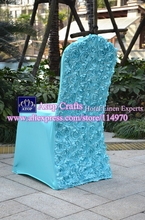 100pcs Tiffany Blue Spandex Wedding Chair Covers With Satin Rosette Flower At Back For Banquet Hotel Party Decoration