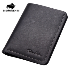 BISON DENIM Top Layer Leather Slim Wallet Men Short Wallets Business Casual Wallet High quality purse card N4386-2&3(China)