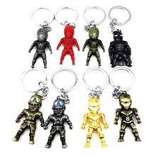 News Movie The Avengers Superhero Iron-man Spider-man Captain American Classical Human Figure Keychain Metal Alloy Key Holder(China)