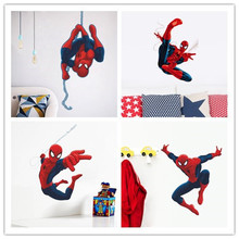 cute cartoon spiderman wall stickers for kids rooms decals home decor Nursery 3D for Boy christmas xmas gift decoration