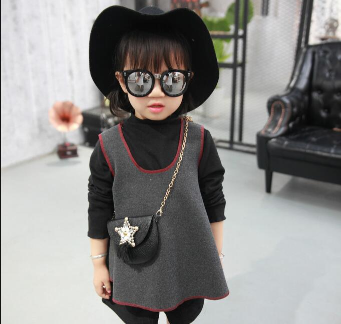 2016 autumn and winter new childrens clothing girls long-sleeved base shirt + woolen vest + shorts 3pcs girl clothes sets<br><br>Aliexpress