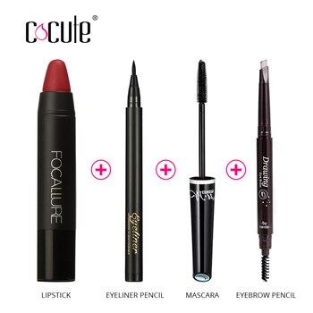Cocute Makup Инструмент Комплект 4 ШТ. Должны Иметь Косметики В Том Числе Помада Бровей pen карандаш для глаз и Тушь для подарок на день рождения