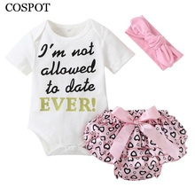 COSPOT 2018 New Rush Baby Girls Clothing Set Spring Summer Cotton 3Pcs Headband+Bodysuit+Shorts Girls Clothes Suits Jumpsuit C50(China)
