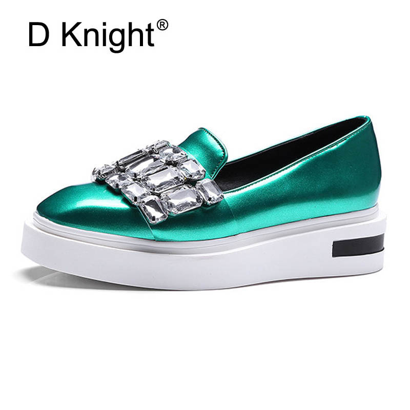 Crystal Loafers Square Toe Platform Shoes Woman 2017 Rhinestone Creepers Slip On Flats New Casual Women Shoes Green Pewter D39(China (Mainland))