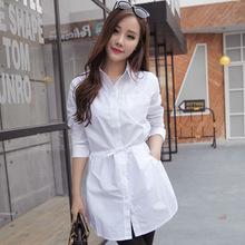 S006 long shirt  spring 2016 new Korean fashion all-match tie waist long sleeved white shirt