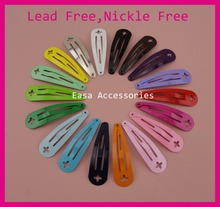 "50PCS 4.0cm 1.5"" Assorted Colors plain Round Head Metal Snap Clip with Cross Hook at lead free nickle free,DIY hair clips kid(China)"