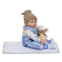 Import Mohair Silicone Doll 22inch Realistic Lifelike Baby Doll 55cm Soft Silicone Reborn Dolls Toys Playmate Doll Brinquedos
