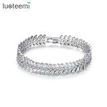 LUOTEEMI Vintage Marquise Cut Top Grade Cubic Zirconia Leaf Tennis Allure Bracelets Bangles for Women Elegant Wedding Jewelry(China)