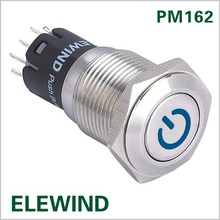 16mm 12V Car Auto Blue LED Metal Switch Latching Push Button ON/OFF(PM162F-22ZDT/B/12V/S/IP67 with power symbol,CE,ROHS)