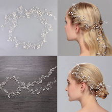 Jonnafe Fashion Extra Long Hair Vine Bridal Headband Pearls Wedding Hair Jewelry Accessories Headwear Women Handmade Headbands