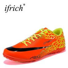 Ifrich New Leather Football Shoes for Men Black Orange Soccer Training Shoes Men Cheap Soccer Shoes For Artificial Turf Cheats