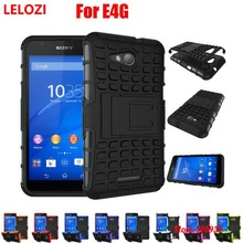 LELOZI Hard Armor Rugged PC Hybrid TPU Back Phone Phon Carcasa Etui Case cubierta For Sony Xperia E4G E2033 Dual Blue White(China)
