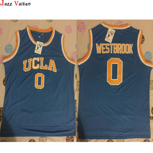 Jazz Vaiten New Brand Mens UCLA Jerseys Russell Westbrook #0 Blue Stitched Basketball Jersey Yellow/Blue/White(China)