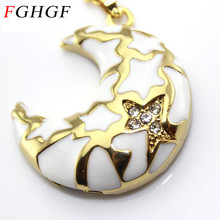 FGHGF Crystal moon style USB Flash Drive metal diamond jewelry USB Flash Disk Gift Crystal Necklace Pendrive 8GB 16GB 32GB(China)