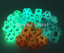 Wholesales 7pc/lot Glowing in the dark Dice Set D4,6,8,10,10%,12,20 for Board Game(China)