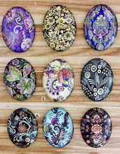 18x25mm Mixed Styles Oval Glass Cabochon Dome Jewelry Finding Cameo Pendant Settings 20pcs/lot (K05513)(China)