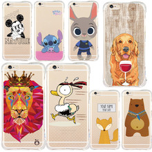 Animal Anti Shock Case for iPhone 5S 6S 7 Plus6 Plus 5 Miki Mouse Coque Shock Proof Shell Flying Astroboy Squirrel Clear Air Bag