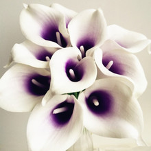 30pcs Callas Artificial Calla lily Blue Heart/ Purple Heart Calla Lilies Flower for Wedding Bridal Bouquet Decorative Flowers(China)