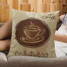 American Style Coffee Cup Pattern Printing Soft Short Plush Throw Pillow Personality Home Sofa Office Chair Back Cushion