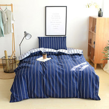 Twin Size Comforter Bedding Sets Navy Color Stripe Duvet Cover 100% Cotton Student Pillowcase Bed Sheet XF5