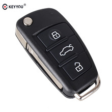 KEYYOU 3 Buttons Filp Folding Key Remote Case Shell For Audi A6 A2 A3 A4 A6L A8 TT free shipping(China)