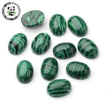 Synthetic Malachite Oval Cabochons, 18x13x7mm