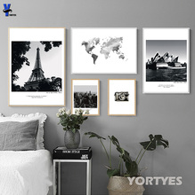 Nordic Canvas Prints Wall Art Pictures Home Decor Tower The Sydney opera house Black And White Art Work Paintings YORT0038(China)