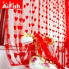 Ready Made String Curtains W1m *H2m Heart Shape Tulle Curtain For Living Room Door Partition Wall Vestibule Curtain AP240-20(China)