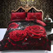 Quality 4Pcs HD 3D Printing Double/Queen Size Bed Quilt/Duvet/Doona Cover Set & Sheet Pillowcases Big Red Rose Love Black