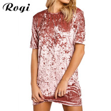 Rogi Summer Velvet T-Shirt Dress Vestidos 2017 Women Short Sleeve Long Tee Shirt Top Fashion T Shirt Robe Femme Camisetas Mujer