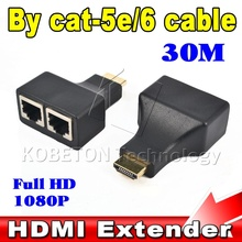 2016 1 set HDMI To Dual Port RJ45 Network Cable Extender by Cat 5e / 6 Cable Up to 30 Meters Full HD 1080P D32 for HDTV HDPC STB