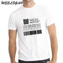 WEELSGAO Letter T Shirt Men Java Programmer Computer Hello World Code Linux Geek Wear Gifts Print Hip Hop T-shirt(China)