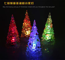 1pc Luminous Fairy Color Changing LED Night Light Lamp Christmas Tree Ornament Acrylic Xmas Table Home Decoration New Year Vase