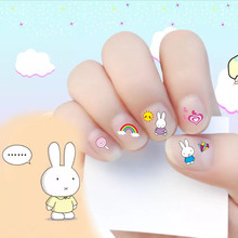 2017 New arrive korea Waterproof 3D Nails Sticker cute rabbit 6 Designs Nails Foil Sticker Decor Decals make up for children(China)