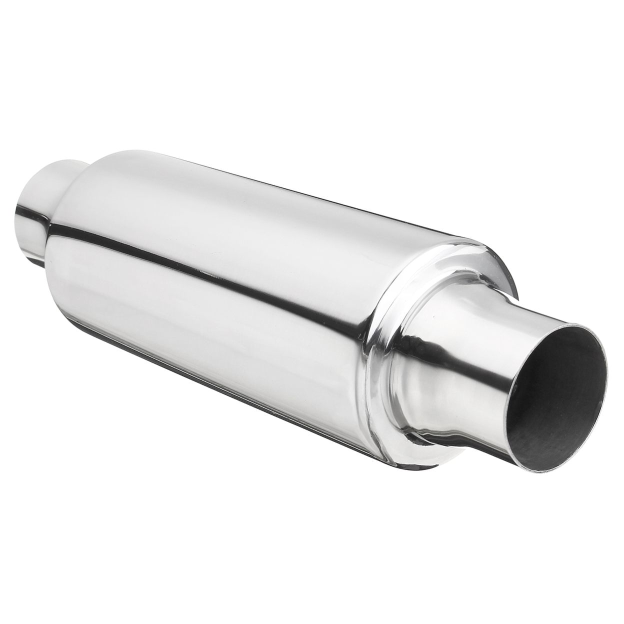 Bullet Bomb Silencer with 76mm Round Tailpipe Stainless Steel Exhaust Back Box