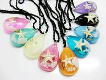 FREE SHIPPING 9 PCS Lucky real Resin Charm Pendants Drop Made With Real Starfish Jewelry INSECT JEWELRY TAXIDERMY GIFT(China)