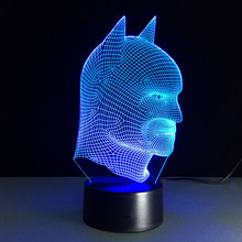 Free Shipping 3d Remote Batman Colorful 3d Lights Children's Nightlight Visual Led Night Lights Illusion Mood Lamp Lamparas Kid(China)