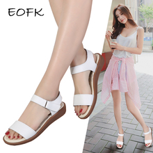 EOFK Summer Women 샌들 (High) 저 (Quality 편안한 Leather Flat 숨 샌들 Lady Shoes Woman White S Sandalias(China)