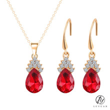 Elegant Gold Color Crystal Water Drop Pendants Necklaces Earrings Bridal Wedding Charm Jewelry Sets For Women Wholesale