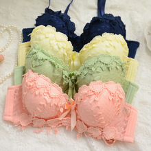Fordar Brand Push Up Sexy Underwear Lolita Style Lace Lingerie Cute Girl Sot Embroidery Bra Set 32A 34A 36A 38A Cup for Women(China)