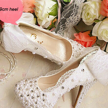 Crystal Pearl Bridal Shoes White Bowtie Lace Wedding Dress Shoes Bride Platform High Heels Bridesmaid Shoes Prom Shoes