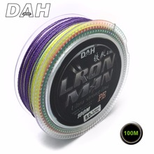 Wholesale 100m 4x Brand DAH Japan Quality Multifilament 100% PE Braided Fishing Line 4 Strands Strong Strenght Free Shipping
