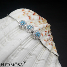 HERMOSA Jewelry New Design Flower 3 color selection 925 Sterling Silver Adjustable Pull Tie Chain Bracelet 3-11 Inch ST44