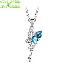 2017 dancing girl design Wholesales  white gold color Ausntrian Crystal Angel Fairy Pendant Necklace jewelry 84304