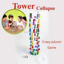 Crash  tower collapse stacking crazy column game balance toy Building play blocks Challenge Game for Family Fun