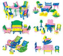 432set/lot Play house toy EVA furniture assembly 3D house model Building blocks handcraft DIY Bedroom,living room chair/bed/desk