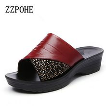 ZZPOHE Summer mothers red slippers leather soft bottom women slippers slope with casual comfortable fashion ladies slippers(China)