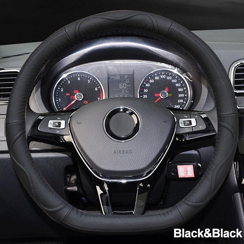 05 Car Steering Wheel Cover D Shape PU Leather For Volkswagen VW Golf R Alltrack Passat jetta Audi TT Renault Citroen Peugeot